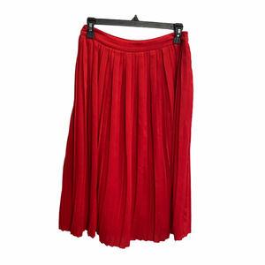 Banana Republic Red Pleated Calf Length Skirt Sz 0